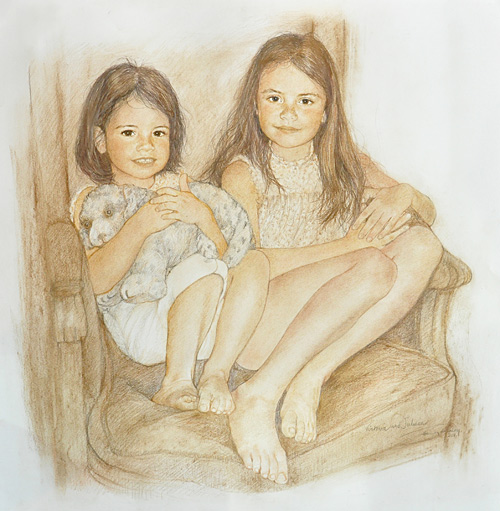 Girls on a chair