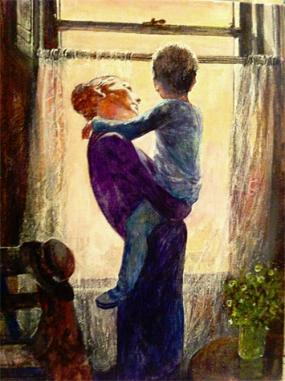 Mother and child by window