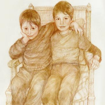 Two boys on a chair
